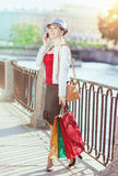 Beautiful girl with shopping bags talking on the mobile phone Stock Image