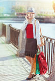 Beautiful girl with shopping bags talking on the mobile phone Stock Photos