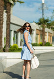 Beautiful girl shopping in the city Stock Photos