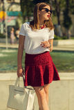 Beautiful girl shopping in the city Royalty Free Stock Image