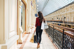 Beautiful girl on shopping in Europe Royalty Free Stock Photography