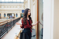 Beautiful girl on shopping in Europe. Very beautiful girl shopping in Europe on vacation Stock Photo