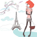 Beautiful girl Shopping in Paris Royalty Free Stock Photo
