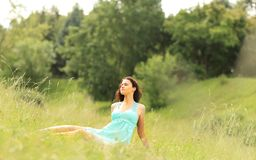 Beautiful girl  short hair summer park Royalty Free Stock Photo