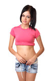 The beautiful girl in shorts isolated Stock Photos