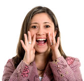 Beautiful girl shouting out loud Stock Photo