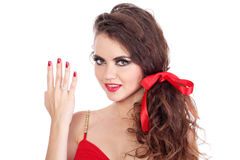 Beautiful girl  show four fingers on the hand Stock Images