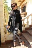 Beautiful Girl out door. Beautiful girl Show shopping 2015 fashion dress Royalty Free Stock Image
