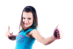Beautiful girl showing thumb up gesture Stock Photography