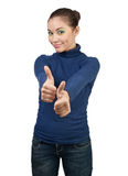 Beautiful girl showing thumbs up Stock Photos