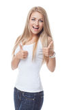 Beautiful girl showing thumbs up Stock Images