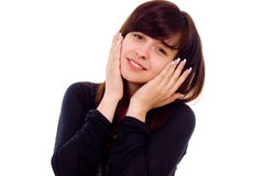 Beautiful girl shows surprise Royalty Free Stock Image