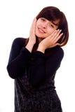 Beautiful girl shows surprise Stock Photos