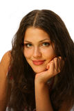 Beautiful girl with shy smile stock photo