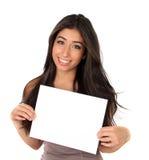 Beautiful girl and sign Stock Photos