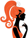 Beautiful girl silhouette. Profile with red hair Royalty Free Stock Photos