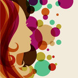 Beautiful girl silhouette with red hair, vector background. Abst Stock Image