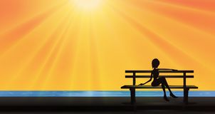Beautiful girl silhouette sitting on a bench near lake, summer sun Stock Photo