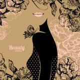 Beautiful girl silhouette. Vintage retro Stock Image