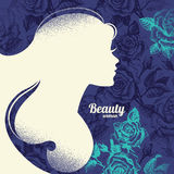 Beautiful girl silhouette. Vintage retro Stock Images