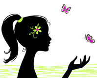 Beautiful Girl Silhouette With Butterfly Stock Photo