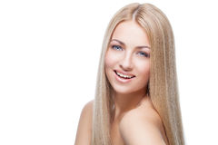 Beautiful girl with silky blond hair Royalty Free Stock Images