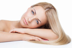 Beautiful girl with silky blond hair Royalty Free Stock Photo