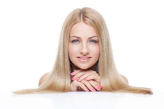 Beautiful girl with silky blond hair Royalty Free Stock Photos