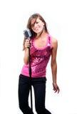 Beautiful girl singing stock photos