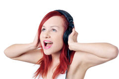 Beautiful girl singing Stock Photos