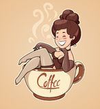 Beautiful girl sit in coffee cup. Cartoon Character for cafe. Royalty Free Stock Images
