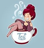 Beautiful girl sit in tea cup. Cartoon Character for cafe. Stock Photos