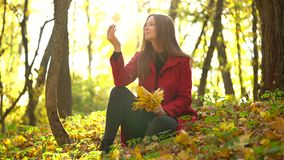 Beautiful girl sits in the autumn forest and collects a bouquet of yellow maple leaves. Weekend outside the city stock video