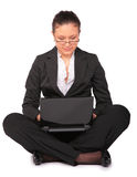 Beautiful girl sits with notebook Royalty Free Stock Photos