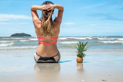 Beautiful girl sitting on the beach on exotic landscapes and pin. Eapple, holiday concept Royalty Free Stock Photos