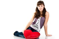 Beautiful girl sitting with heart Stock Photos