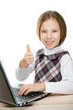 Beautiful girl sitting at laptop Royalty Free Stock Photo