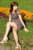 Beautiful girl sitting on meadow Royalty Free Stock Photography
