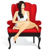 Beautiful girl sitting in red chair. vector illustration