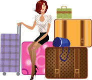 Beautiful girl sitting on a suitcase royalty free illustration