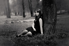 Beautiful girl sitting under big tree Royalty Free Stock Photos