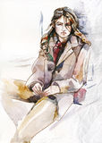 Beautiful girl sitting watercolor illustration Stock Photos