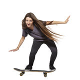 Beautiful girl with skateboard Stock Photo