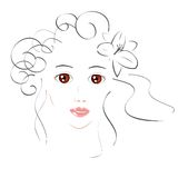 Beautiful Girl Sketch Royalty Free Stock Photo