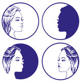 Beautiful girl sketch collection vector logo design template. cosmetic, Stock Photo