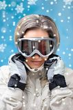 Beautiful girl in ski clothes Stock Images