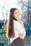 Beautiful girl in skirt Royalty Free Stock Images