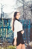 Beautiful girl in skirt Stock Images