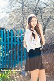 Beautiful girl in skirt Royalty Free Stock Photography