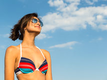 Beautiful Girl And Sky Royalty Free Stock Photography